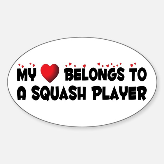 Belongs To A Squash Player Oval Decal