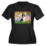Garden / Collie Women's Plus Size V-Neck Dark T-Sh