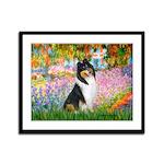 Garden / Collie Framed Panel Print