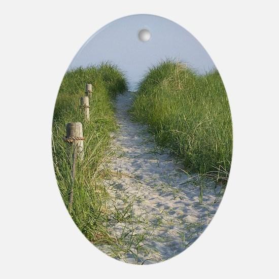 New England Coastal Dune Path Oval Ornament