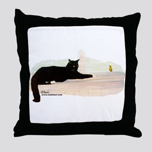 Cat & Finch Throw Pillow