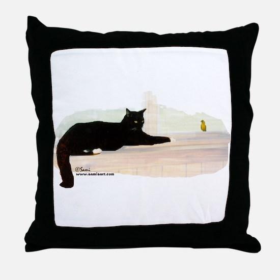 Cat & Finch Throw Pillow