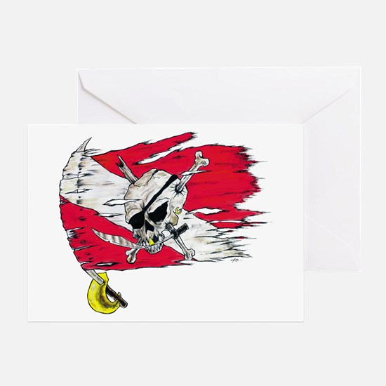 Red Dive Flag Skull Greeting Cards