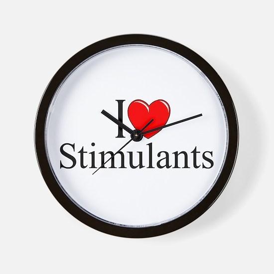 """""""I Love (Heart) Stimulants"""" Wall Clock"""