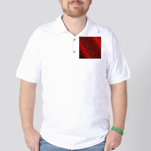 golden music notes in dark shyni red Golf Shirt