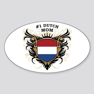 Number One Dutch Mom Oval Sticker