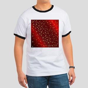 golden music notes in dark shyni red T-Shirt