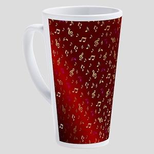 golden music notes in dark shyni r 17 oz Latte Mug