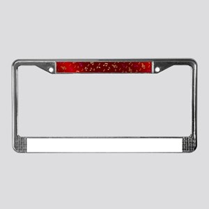 golden music notes in dark shy License Plate Frame