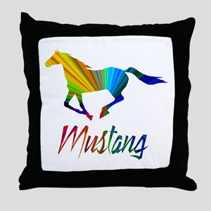 Colorful Galloping Mustang Throw Pillow
