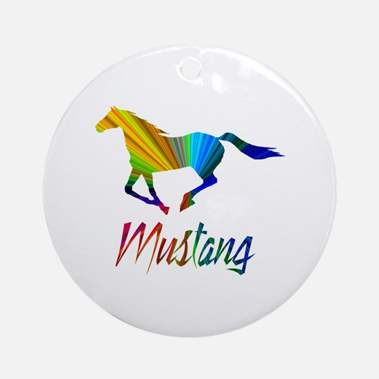 Colorful Galloping Mustang Ornament (Round)