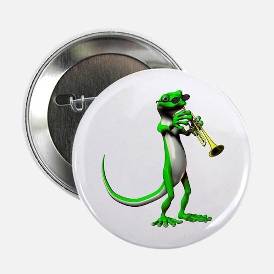"Blues Trumpet Gecko 2.25"" Button"