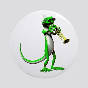 Blues Trumpet Gecko Ornament (Round)