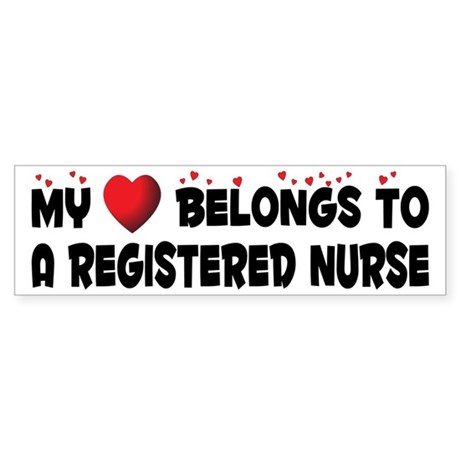 Belongs To A Registered Nurse Bumper Sticker