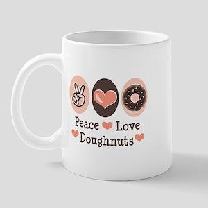Peace Love Doughnuts Donut Mug
