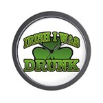 Irish I Was Drunk Shamrock Wall Clock