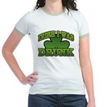 Irish I Was Drunk Shamrock Jr. Ringer T-Shirt