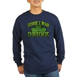 Irish I Was Drunk Shamrock Long Sleeve Dark T-Shir
