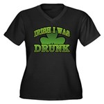 Irish I Was Drunk Shamrock Women's Plus Size V-Nec