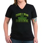 Irish I Was Drunk Shamrock Women's V-Neck Dark T-S