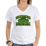 Irish I Was Drunk Shamrock Women's V-Neck T-Shirt