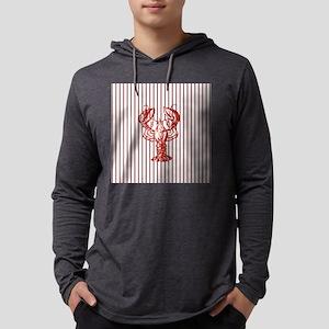 nautical red white stripes lob Long Sleeve T-Shirt