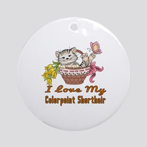 I Love My Colorpoint Shorthair Desi Round Ornament