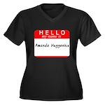 Amanda Women's Plus Size V-Neck Dark T-Shirt