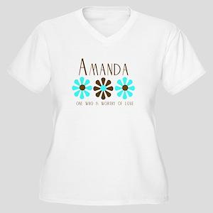 Amanda - Blue/Brown Flowers Women's Plus Size V-Ne