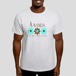 Amanda - Blue/Brown Flowers Light T-Shirt