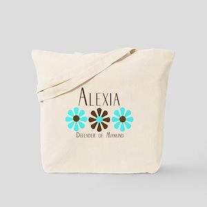Alexia - Blue/Brown Flowers Tote Bag