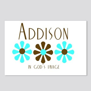 Addison - Blue/Brown Flowers Postcards (Package of