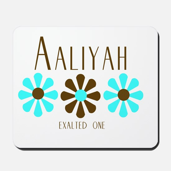 Aaliyah - Blue/Brown Flowers Mousepad