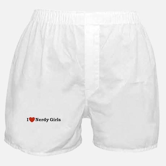 I love Nerdy Girls Boxer Shorts