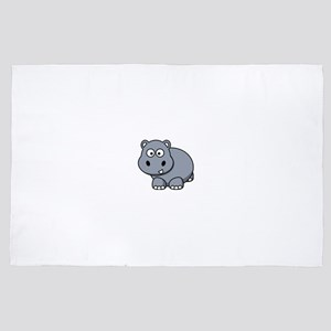 Cute Smiling Baby Hippo 4' x 6' Rug