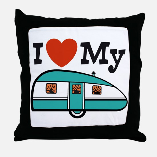 I Love My Trailer Throw Pillow