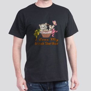 I Love My British Shorthair Designs Dark T-Shirt