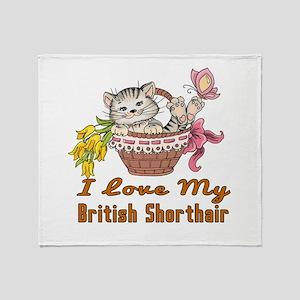 I Love My British Shorthair Designs Throw Blanket