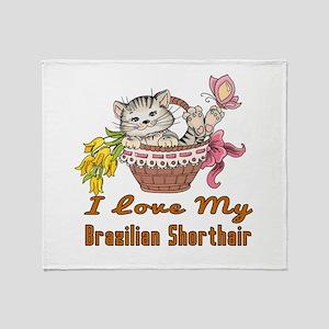 I Love My Brazilian Shorthair Design Throw Blanket