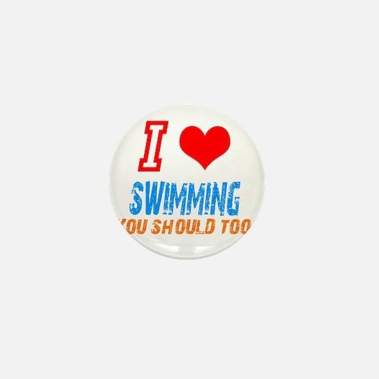 Cute I love swimming Mini Button