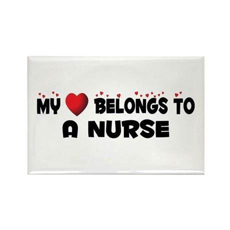 Belongs To A Nurse Rectangle Magnet (100 pack)