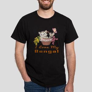 I Love My Bengal Designs Dark T-Shirt