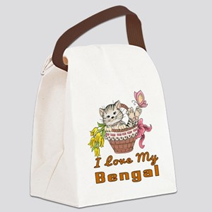 I Love My Bengal Designs Canvas Lunch Bag
