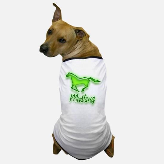Galloping Green Mustang Dog T-Shirt