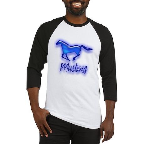 Galloping Blue Mustang Baseball Jersey