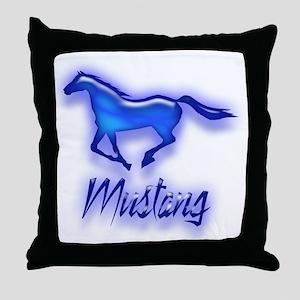 Galloping Blue Mustang Throw Pillow