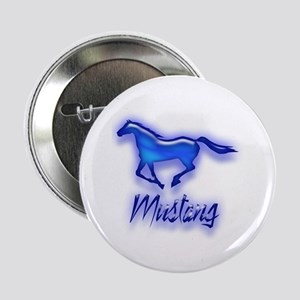 """Galloping Blue Mustang 2.25"""" Button"""