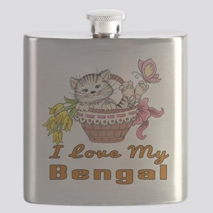I Love My Bengal Designs Flask