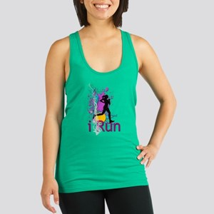 iRun Teal and Red Racerback Tank Top