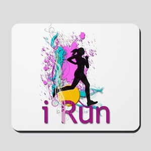 iRun Teal and Red Mousepad